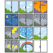 いろいろな窓の外の天気のイラスト