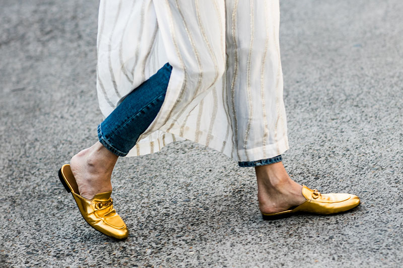 how-to-wear-gucci-gold-flats