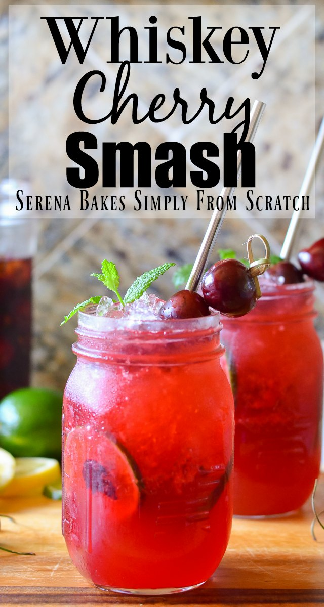 Whiskey Cherry Smash is a slushy cocktail recipe perfect for a hot day from Serena Bakes Simply From Scratch.
