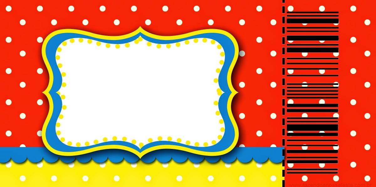 Tarjeta con forma de Ticket de Rojo, Amarillo y Lunares Blancos.