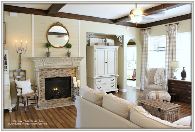 Wood Beams-French-Shiplap-Farmhouse Living Room- From My Front Porch To Yours