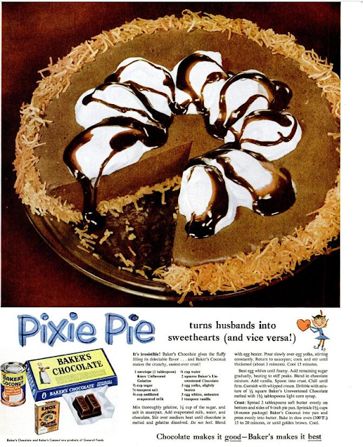 1950s Food 58 Vintage Recipes Worth Trying Today: Dying For Chocolate: CHOCOLATE PIXIE PIE: Vintage Ad & Recipe