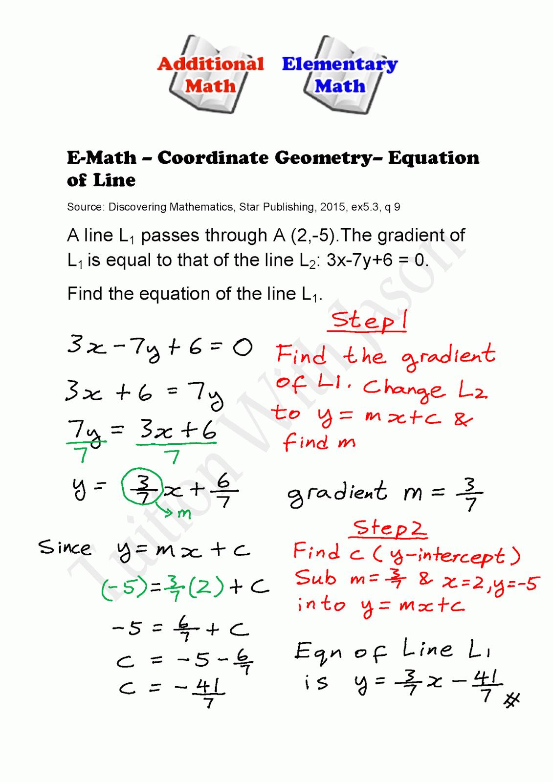 E Math Coordinate Geometry