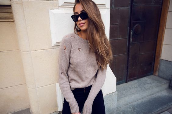 Kenza - Cat Eye Sunglasses + Destroyed Knit Sweater