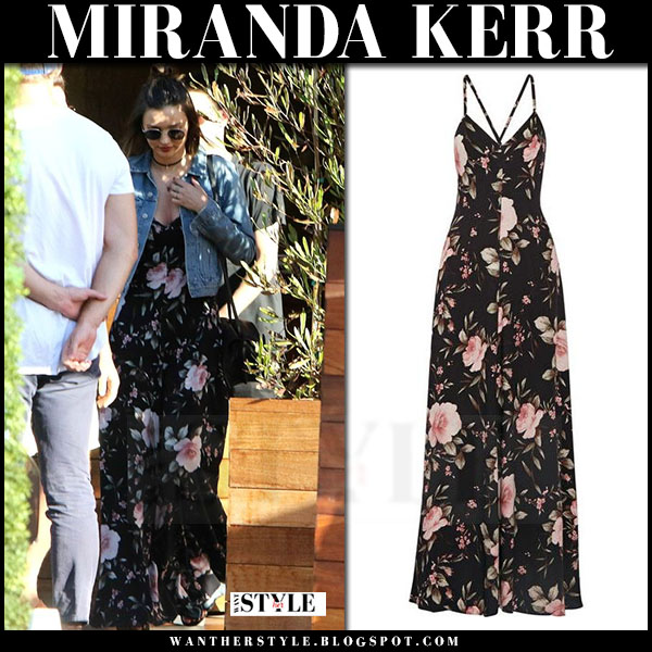 Miranda Kerr in black floral print alice olivia alves maxi dress and denim jacket acne what she wore