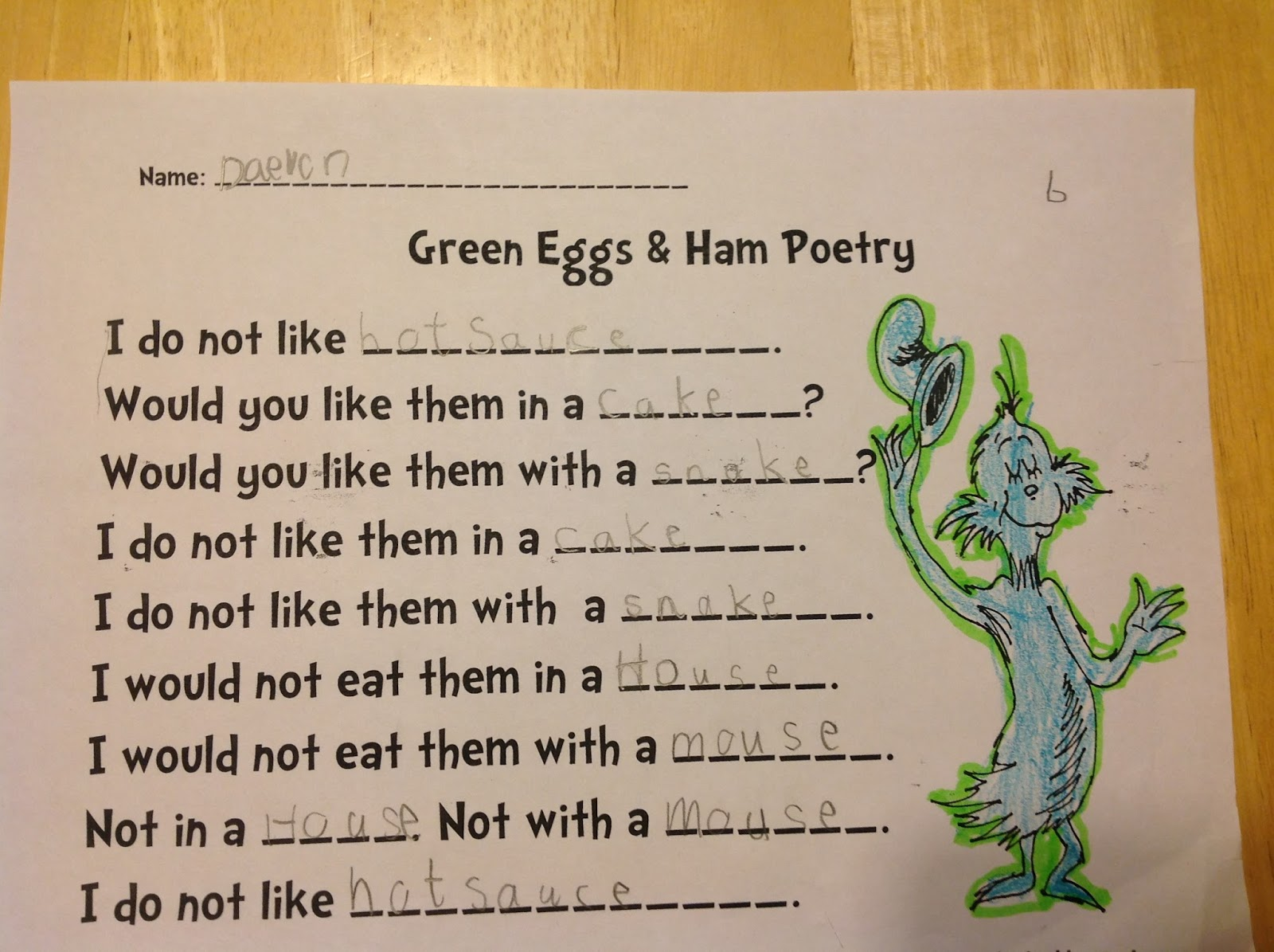 i will not eat green eggs and ham