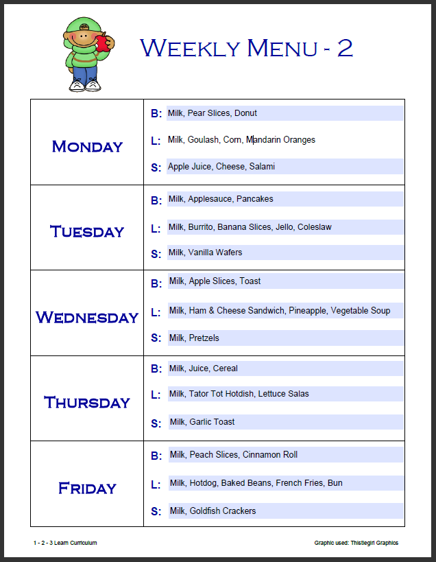 blank daycare menu template - my blog