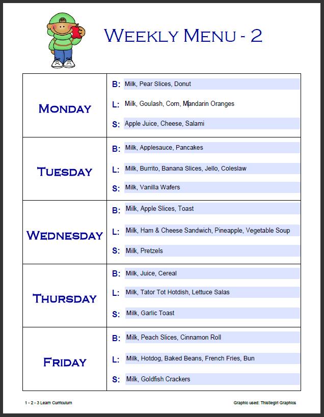Week Menu Template. menu exercise planner free printable ...