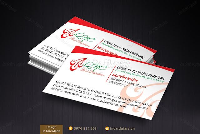 Mẫu Card công ty cổ phần phân phối QNC