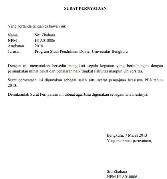 Contoh Surat Pernyataan Bersedia Aktif Kegiatan Kampus Universitas