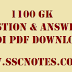 Top 1100 GK Questions and Answers in Hindi for Competitive Exams PDF Download