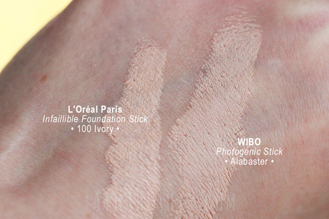 Wibo Photogenic Stick Alabaster • L'Oréal Paris Infaillible Foundation Stick 100 Ivory