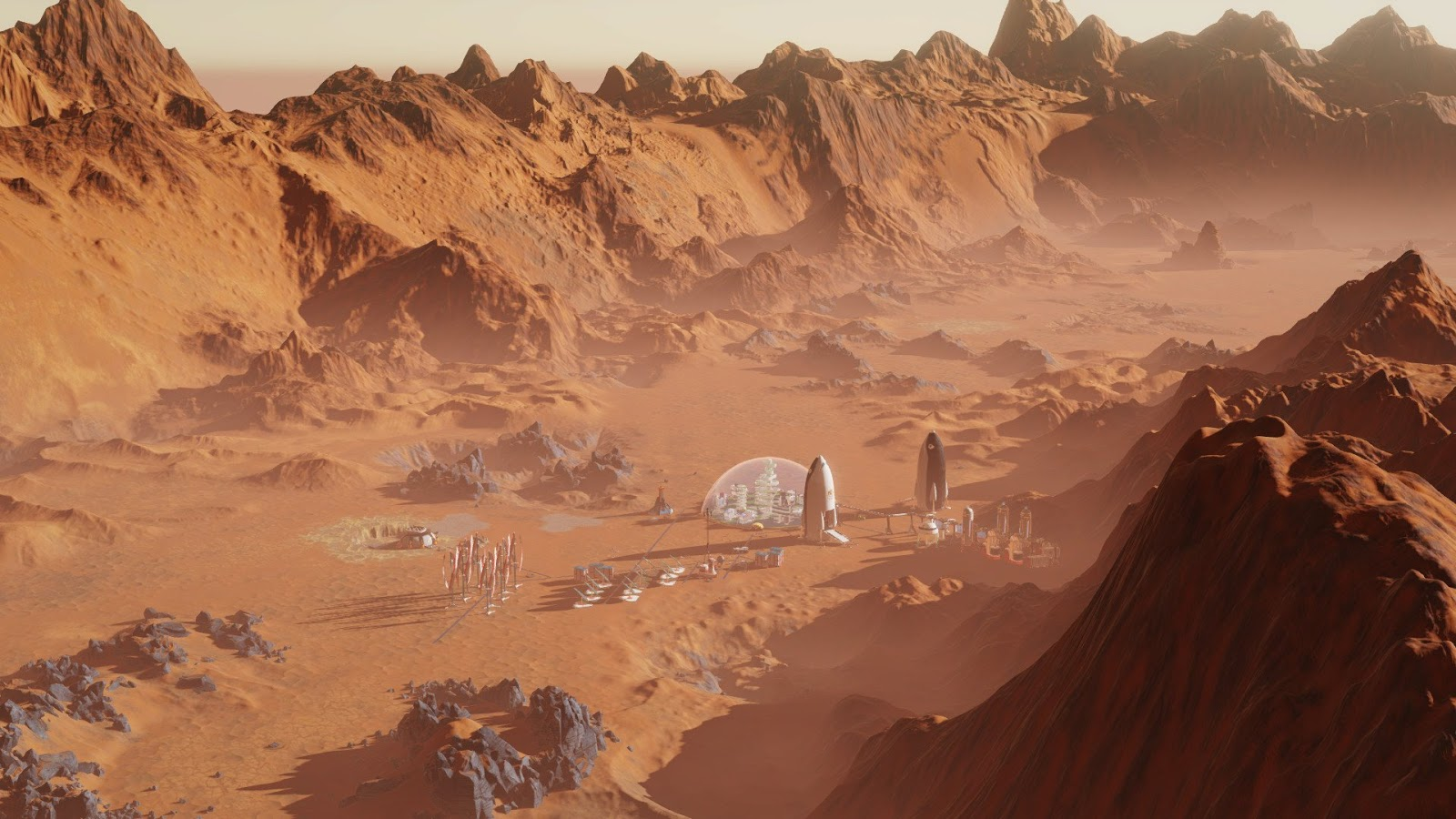 Human colony in a Martian canyon from Surviving Mars game