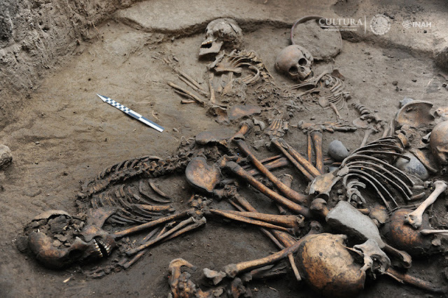 2,500-year-old mutliple burial with interlocked skeletons found in Mexico