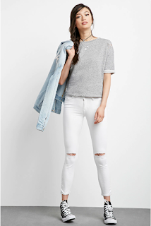 Forever 21 Distressed Skinny Jeans $21 (reg $30)