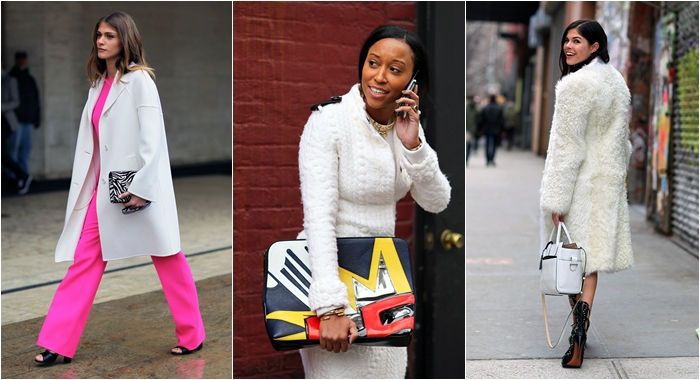 New York winter Street style white coats