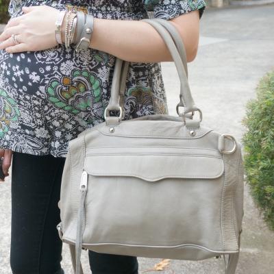 AwayFromTheBlue | Baby bump bracelet stack Rebecca Minkoff grey MAM bag