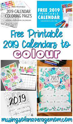 free printable 2019 calendars to color