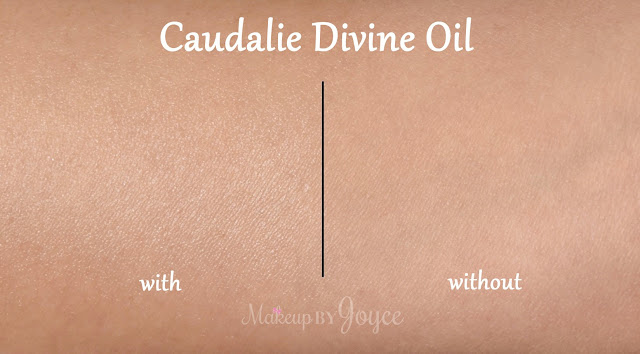 Caudalie Divine Oil Swatches Before and After