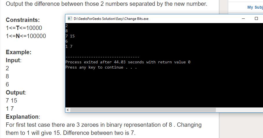 "Geeksforgeeks Solution For "" Change Bits """