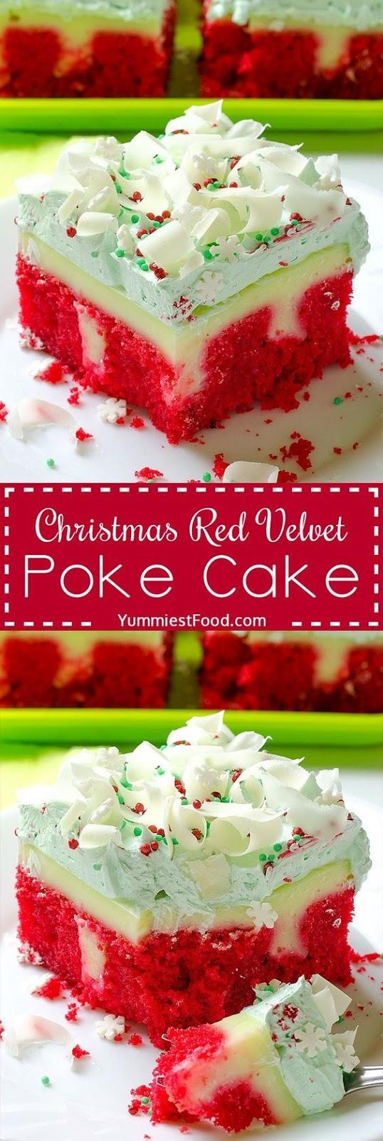 Christmas Red Velvet Poke Cake Recipe #dessert #christmas #red #velvet #poke #cake