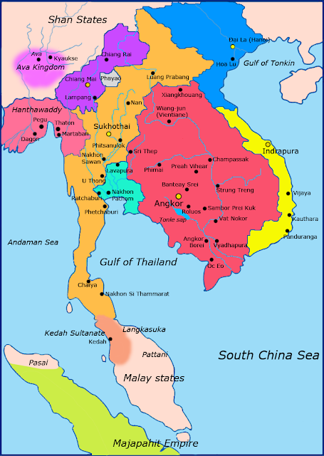 Map of Sukhothai Kingdom in the 13th Century