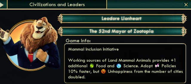 Oh M. Goodness, there's a Zootopia mod for Civ V!