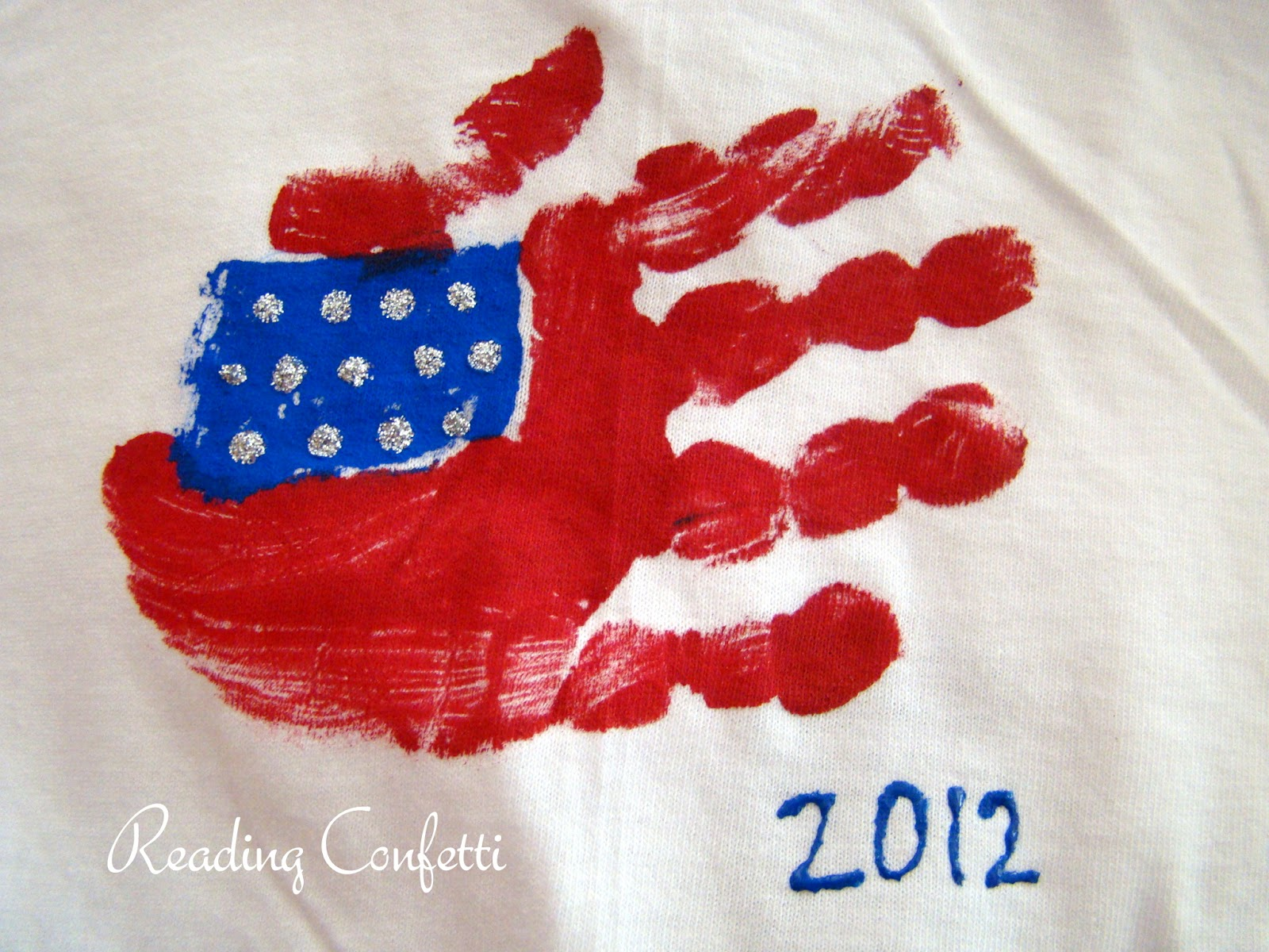 Handprint American Flags Reading Confetti