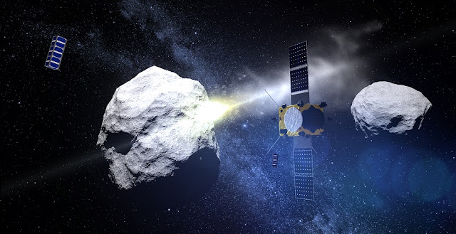ESA's Asteroid Impact Mission is joined by two triple-unit CubeSats to observe the impact of the NASA-led Double Asteroid Redirection Test (DART) probe with the secondary Didymos asteroid, planned for late 2022. Image Credit: ESA - ScienceOffice.org