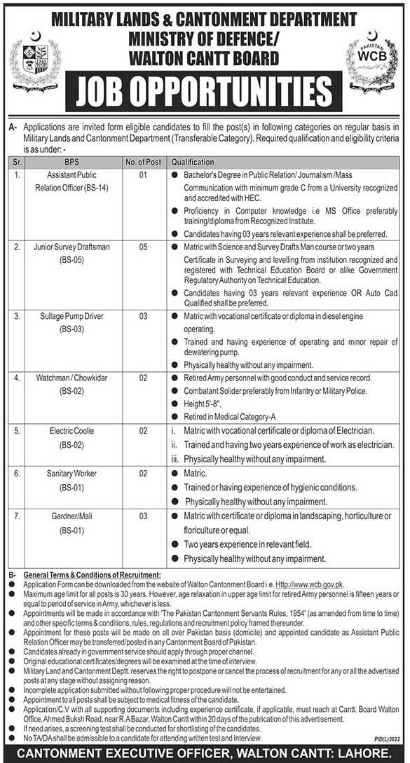 Ministry of Defence Govt of Pakistan Jobs in Lahore
