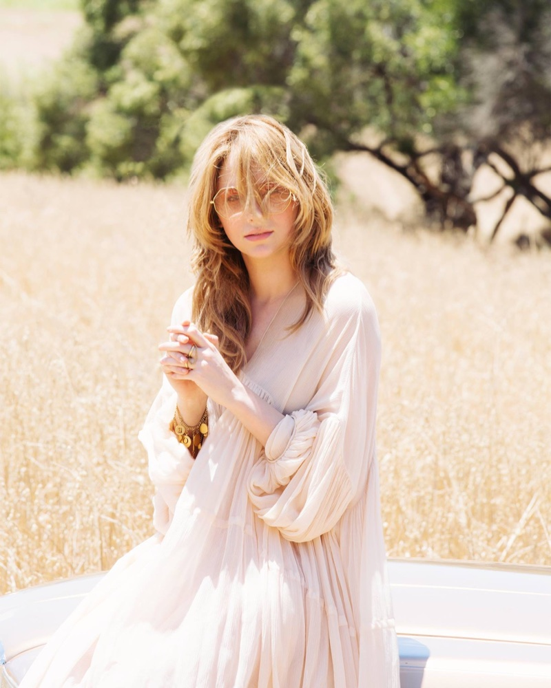 Haley Bennett behind the scenes at Chloé fragrance campaign