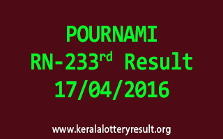 POURNAMI RN 233 Lottery Result 17-4-2016