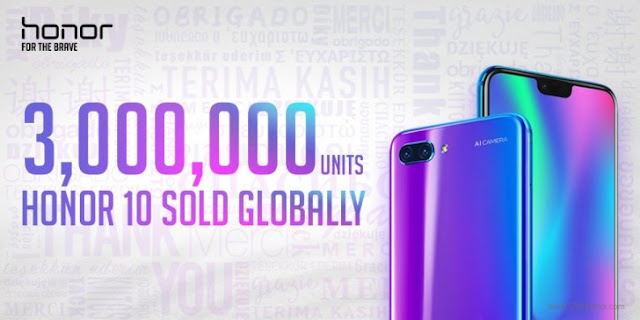 Huawei Honor 10 hits 3 million units sales worldwide after about 2 months of release