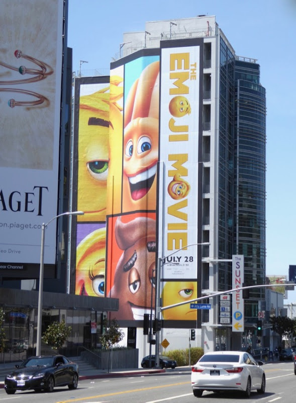 Emoji Movie giant billboard Sunset Strip