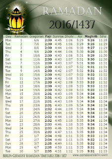 GERMANY hijri timetable
