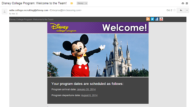 Disney College Program: Welcome to the Team! email