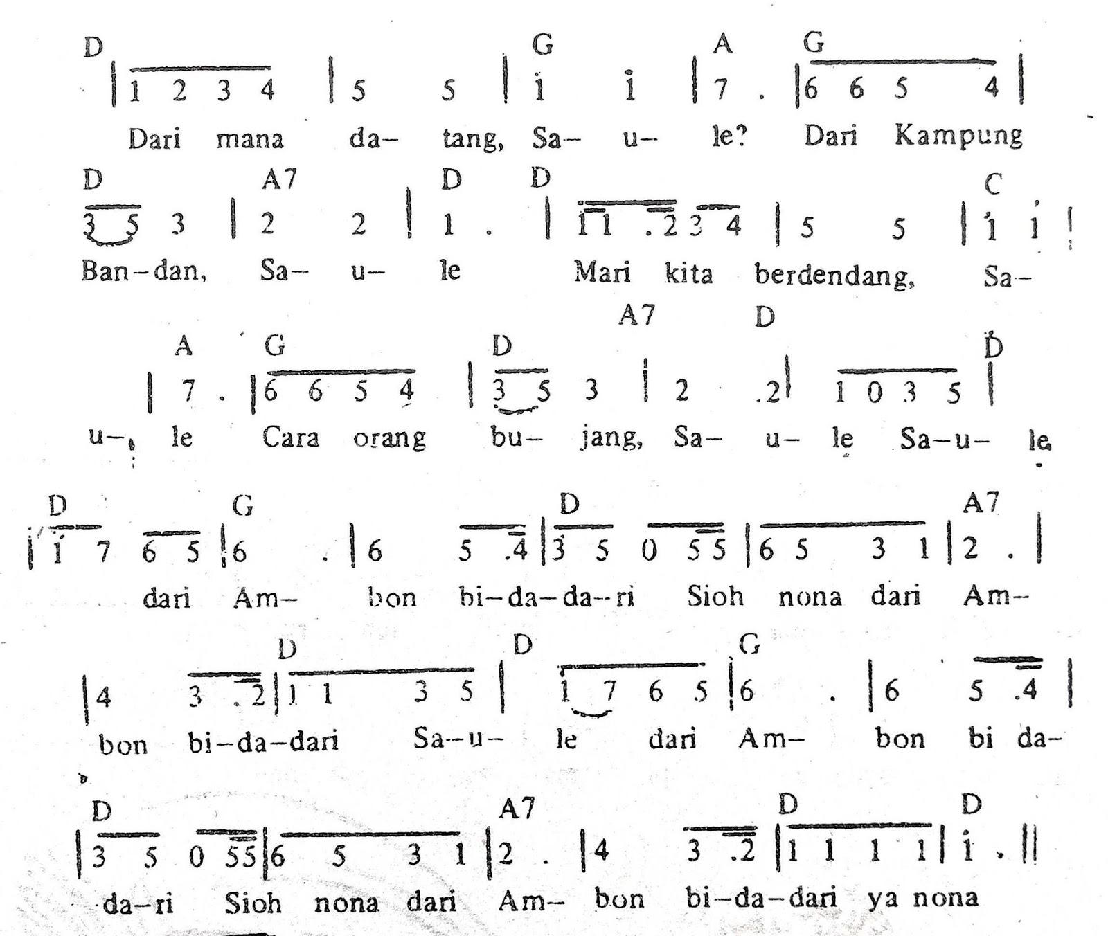 Chord & Arti Lirik Lagu Maluku: Saule + Not Angka
