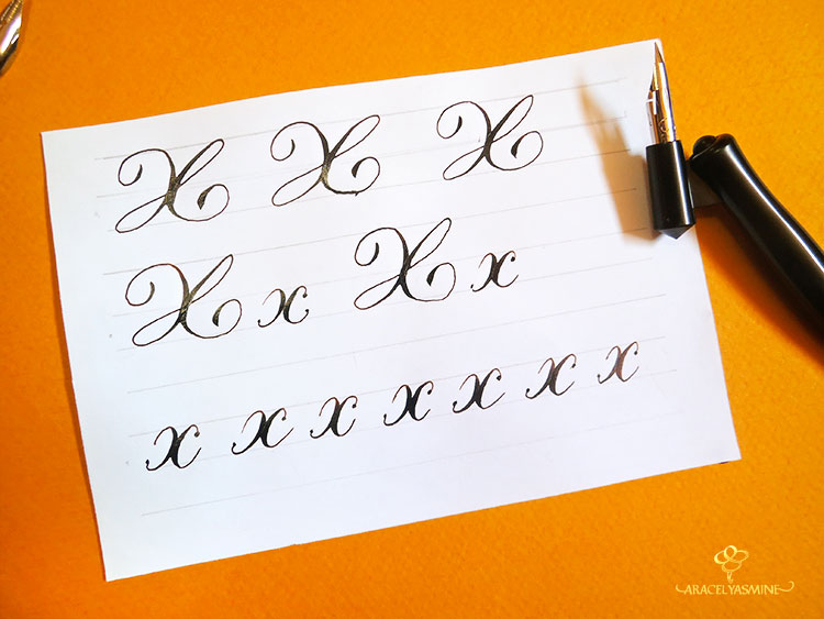 caligrafia copperplate letra x alfabeto aprender