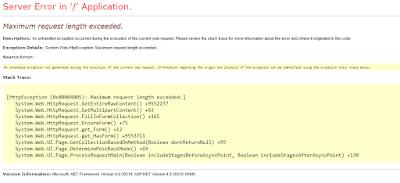 Error: Maximum request length exceeded