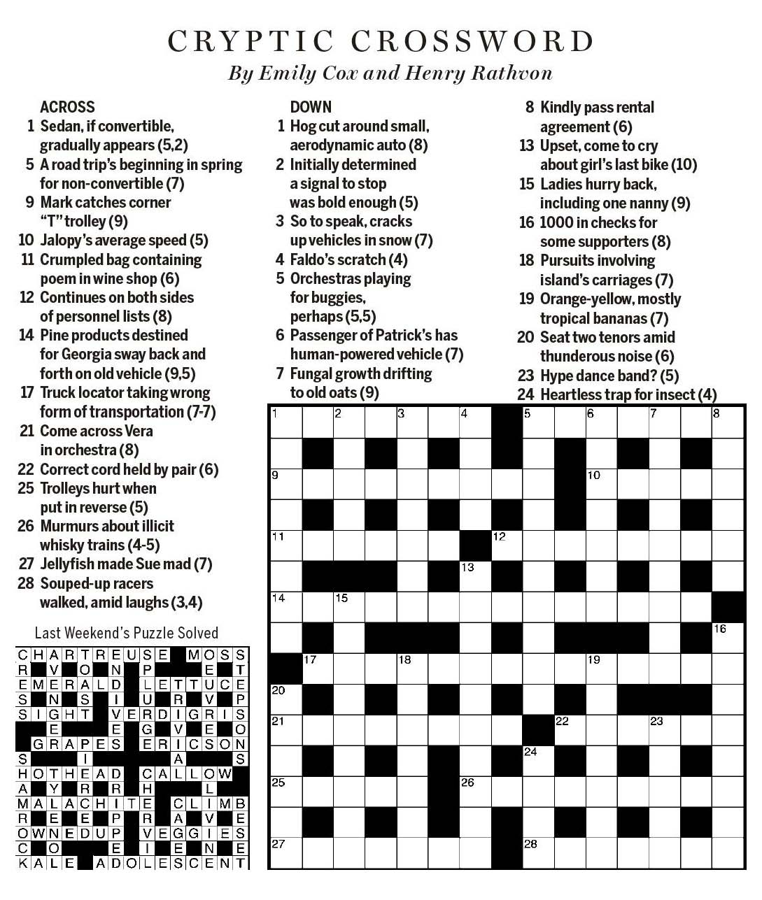 National Post Cryptic Crossword Forum Saturday March 24 2018 By Road Or Rail
