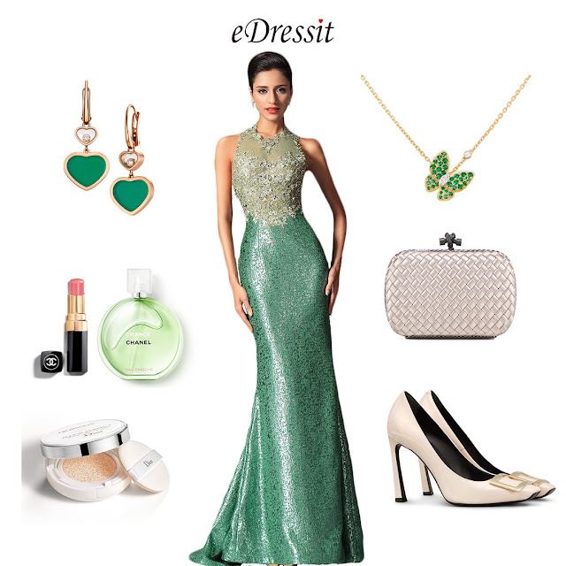 Green Halter Mermaid Evening Dress Prom Ball Gown