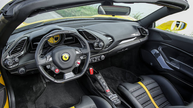 2016 New Ferrari 488 Spider show performance interior dashboard view