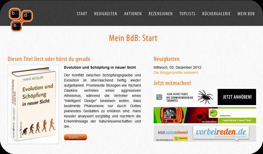 Screenshot neuer Blogg dein Buch Startseite