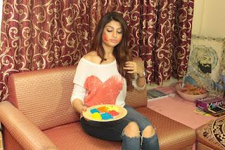 Akanksha Puri Stills in Ripped Jeans at Holi Celetion ~ Celebs Next