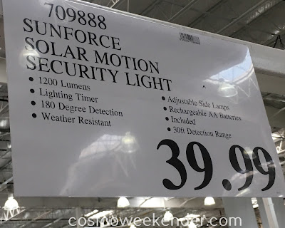 Deal for the SunForce Triple Head Solar Motion Activated Light at Costco