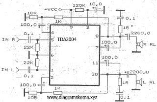 Skema Rangkaian Rangkaian Power Amplifier dengan TDA2004