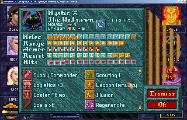 Mystic X Hero from Master of Magic game screenshot