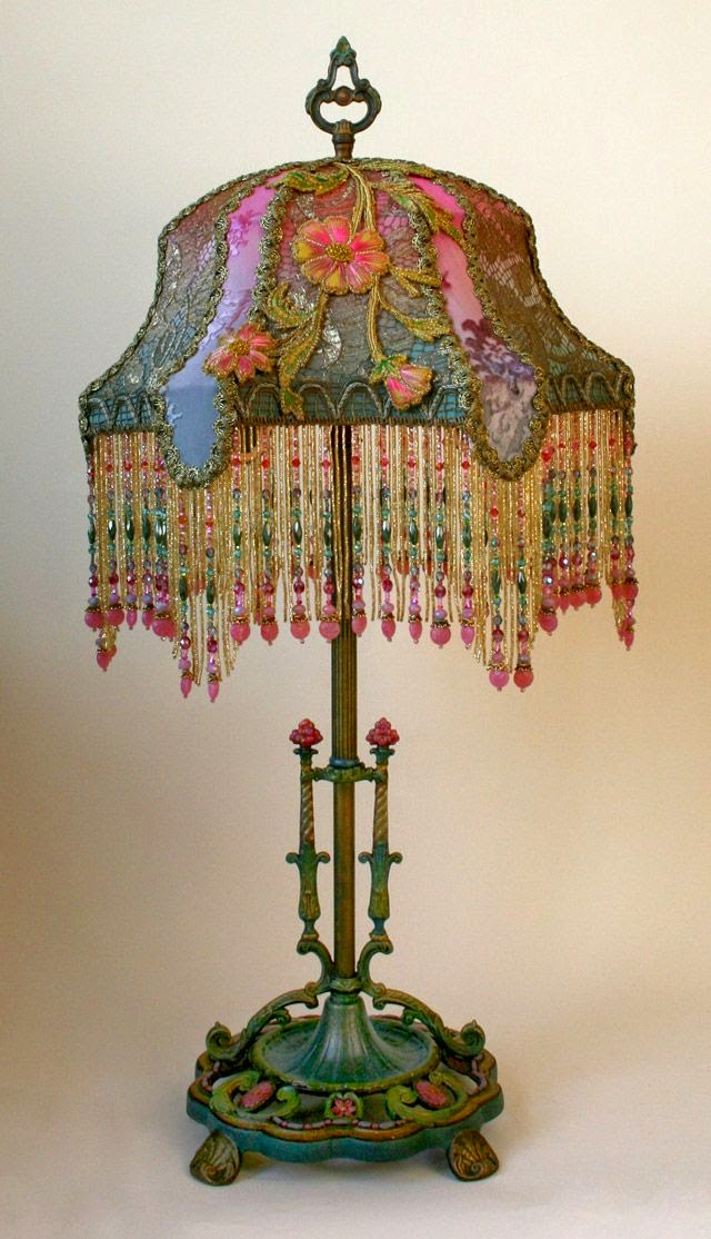 vintage embroidery lamp
