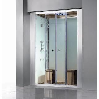 A built-in steam shower for two persons