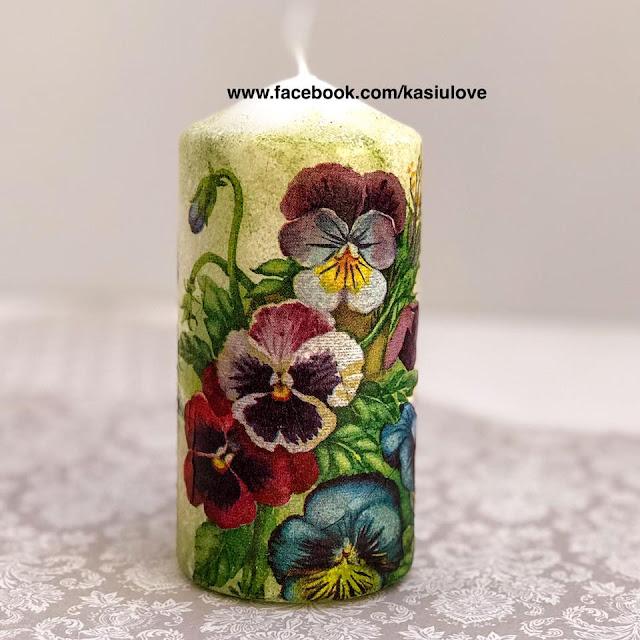 świeca decoupage z kwiatami